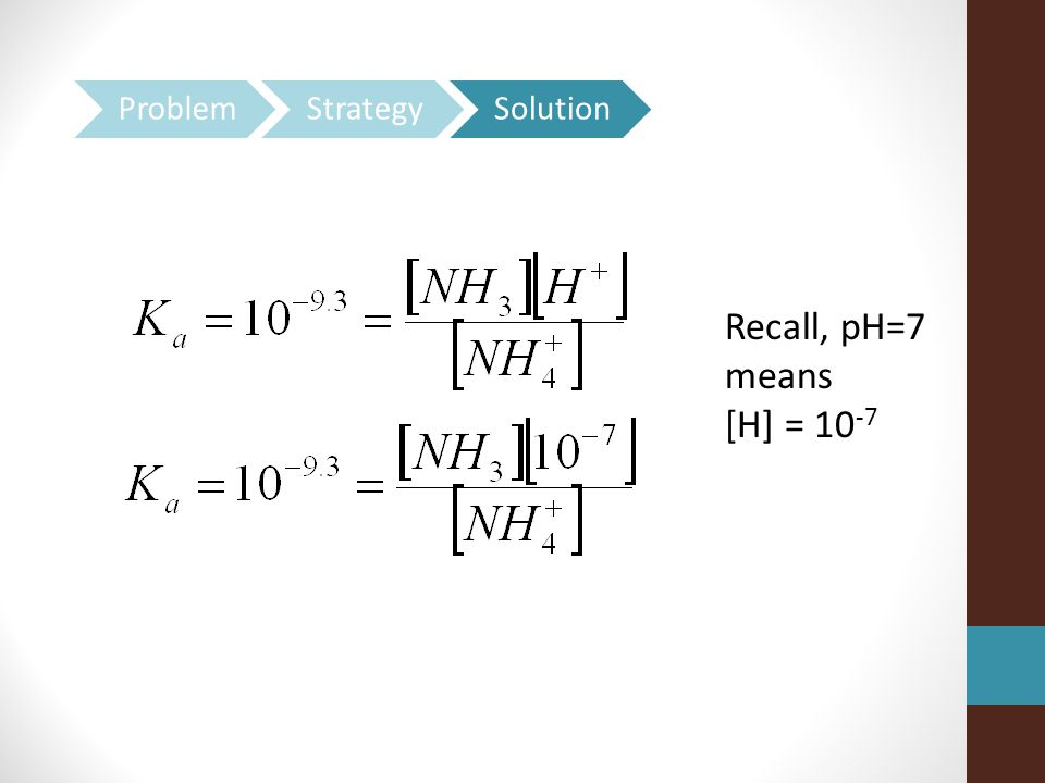 Problem Strategy Solution Recall, pH=7 means [H] = 10-7
